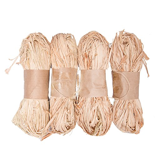 Tosnail 1.75-Ounce Natural Raffia Bundle - 4 Pack Total - Raffia Tan