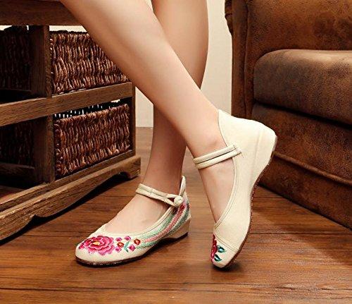 WXT Zapatos bordados, lenguado de tendón, estilo étnico, zapatos de tela femenina, moda, cómodo, zapatos de baile meters white
