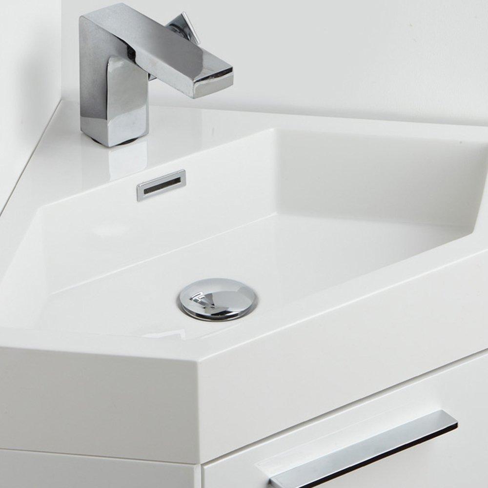 Fresca FVN5084WH-FFT1030CH Coda Modern Corner Bathroom Vanity, 18 ...