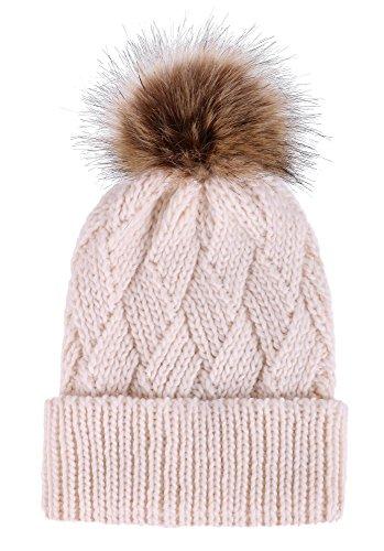 TAUT Knit Beanie Adorable Faux Fur Pom Criss Cross Cable Winter Beanie, Cream