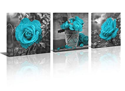 c9086ddba43 Mofutinpo Flower Wall Art Black and White Themed Teal Rose Flower Canvas  Print for Bathroom Bedroom