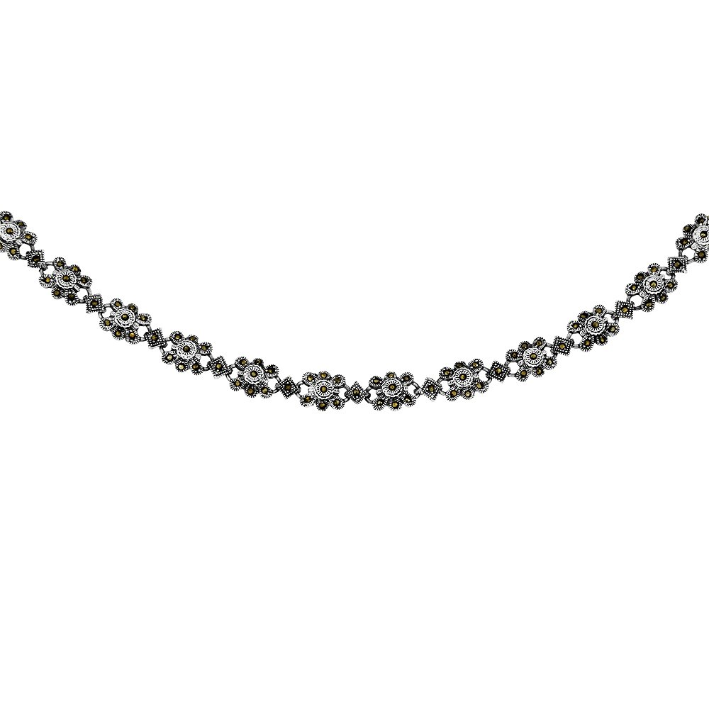 Sterling Silver Flower Marcasite Necklace, 16 inches long