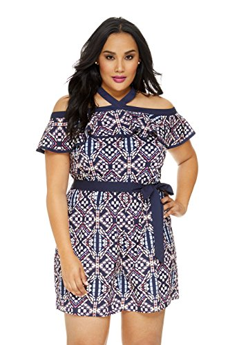 Women's Plus Size Christina Stained Glass Print Romper