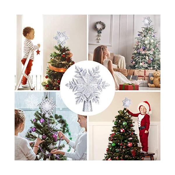 lluminazione di Natale 3D Hollow Stella di Natale Puntale dell'albero di Natale Fiocco di Neve luci del proiettore a LED per Natale Decorazione dell'albero di Natale Home Decor Partito (Argento) 4 spesavip