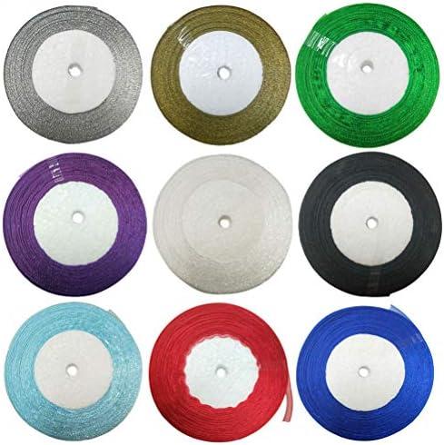Healifty 9pcs 50ヤードオーガンザリボンお祝いの装飾ギフトパッキング手作りヘアアクセサリーのリボンDIYの工芸品パーティー(12MM)を作る