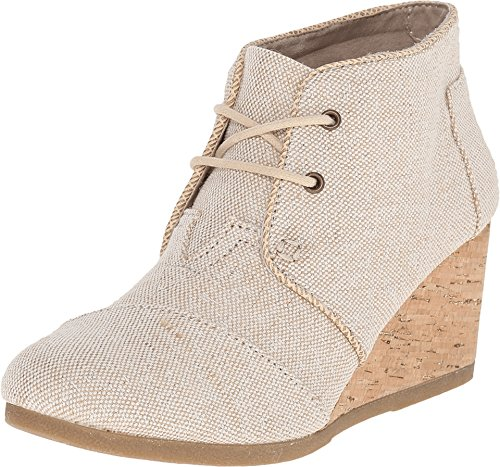 TOMS Women's Desert Wedge Natural Metallic Linen Boot 12 B (M)