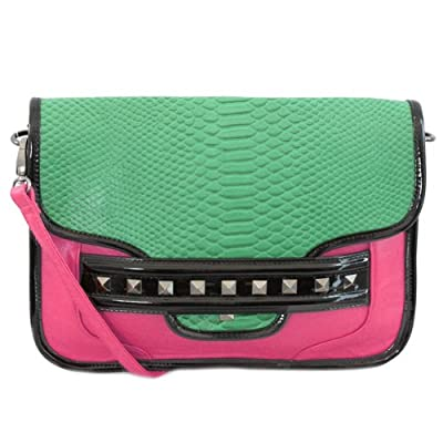 20733 Nila Anthony Clutch featuring a python embossed flap (Pink)