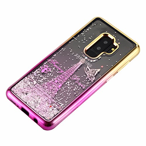 LuckyW Enchapado Caja de Bling for Samsung Galaxy S9 TPU Silicone Transparente Cubierta de la Contraportada del Color del SuaveSuave Ligero Ultra delgado Delgado [Resistente a los arañazos, a prueba d Torre Eiffel