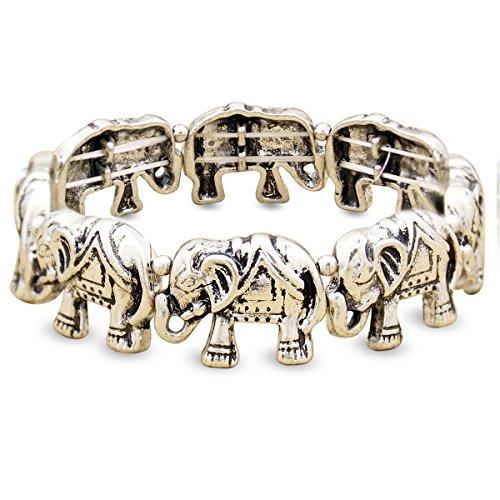 (RechicGu Vintage Silver Boho Lucky Elephant African Hindu Ganesha Stretch Animal Bracelet Bangle Cuff)