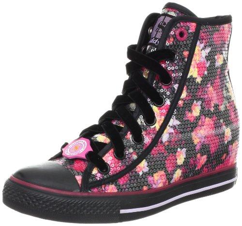 BOBS from Skechers Womens Floral Print Sneaker,Black/Pink,9 M US