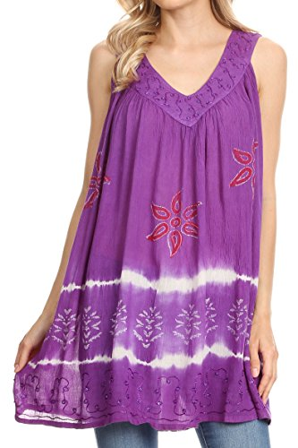 (Sakkas 82 - Ruth Sequin Embroidered Batik Relaxed Fit Sleeveless V-Neck Top - Purple - OS)