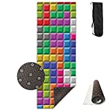 HHHSSS Long 70inch/wide 28inch Non Slip - Color Retro Games Computer Brick Masonry Puzzle Digital Exercise Mat For Yoga, Workout, Fitness With Carrying Strap & Bag