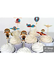24pcs Retro Airplane Cupcake Toppers Cake Decorations Picks Hot Air Balloon Kids Birthday Party Baby Shower Candy Bar