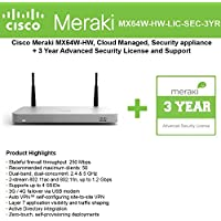 Cisco Meraki MX64W Wireless Firewall Security Bundle, 200Mbps FW, 5xGbE Ports - Includes 3 Years Advanced Security License