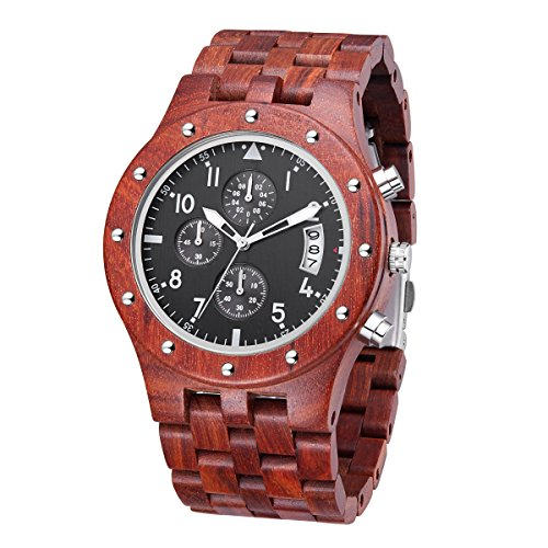 - TJW Waterproof Watch Sub-dials Wooden Watch Quartz Analog Movement Date Wrist Watch for Men (Black)