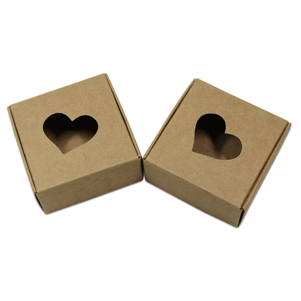 Pack of 50 Recycled Love Heart Party Favor Decorative Boxes 5.5x5.5x2.5 Kraft Paper Heart Window Home Accent Display Gift Baskets Folding Jewelry Makeup Cosmetic Storage Organizers Holder