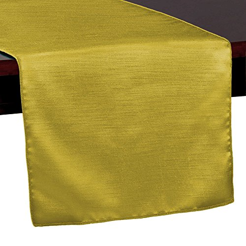 Ultimate Textile (10 Pack) Reversible Shantung Satin - Majestic 14 x 108-Inch Table Runner - for Weddings, Home Parties and Special Event use, Gold