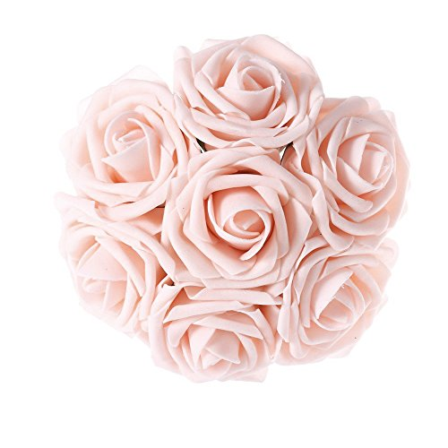 Jing-Rise Artificial Flowers 50PCS Real Looking Fake Roses With Stem For DIY Wedding Bouquets Centerpieces Party Baby Shower Home Decorations(Blush) Wedding Party Centerpieces