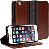 iPhone 6 Case, GMYLE [Micro suction] Book Wallet Case Access [Polyurethane-Synthetic leather] Wallet Stand Cover for iPhone 6 (4.7 inch Display) - Retail Packaging - Brown