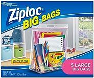 Ziploc Storage Bags, Double Zipper Seal & Expandable Bottom, Large, 5 Count, Big