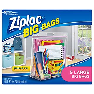 Ziploc Storage Bags, Double Zipper Seal & Expandable Bottom, Large, 5 Count, Big Bag