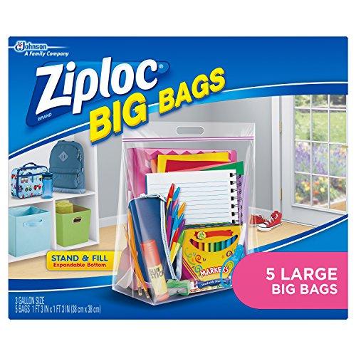 Ziploc Storage Bags, Double Zipper Seal & Expandable Bottom, Large, 5 Count, Big Bag