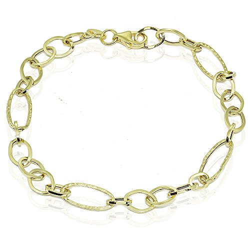 Hammered Oval Link Chain - 14k Gold Italian Lightweight Hammered and Polished Thin Oval Chain Link Bracelet