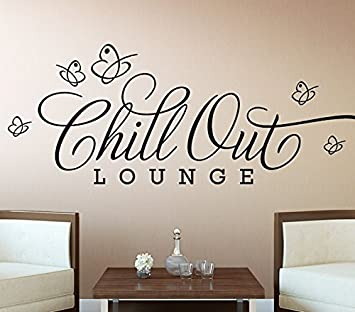 Wandora Wandsticker Chill Out Lounge I Schwarz Bxh 80 X 28 Cm I Schmetterlinge Wandaufkleber Wohnzimmer Wandtattoo Schlafzimmer Aufkleber Sticker