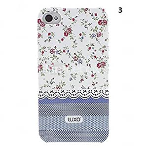 Mini - Blue Base Lace Series Flower Pattern Relief Back Case for iPhone 4/4S0 , Color: 1