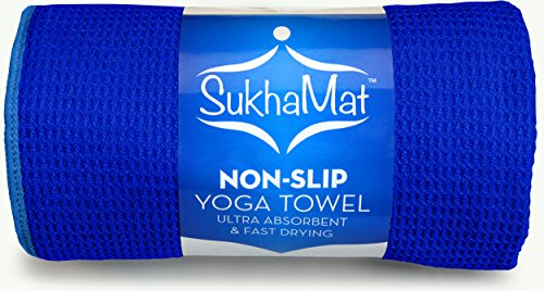 """SukhaMat Non-Skid Yoga Towel, The Best Non-Skid, Ultra Absorbent, Fast Drying Yoga Towel, Durable Microfiber Construction, 72"""" Long, (Dark Blue)"""