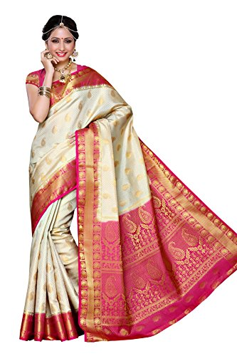 Mimosa-Aritificial-Silk-Saree-Kanjivaram-Style-with-Blouse-Color-Off-White