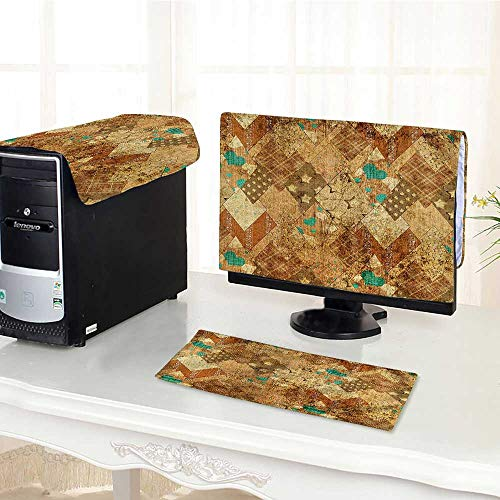 Auraisehome One Machine LCD Monitor Keyboard Cover Murky Vintage Geometric Diamond Triangle Formed Patchwork Quilt Motif Green Sand Brown dust Cover 3 Pieces ()