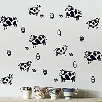 Amazon Com Cow Print Wall Stickers Decals Decor Home Kitchen