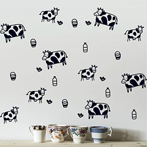 Cow Print Peel and Stick Decals - Kitchen Wall Art Vinyl Dec