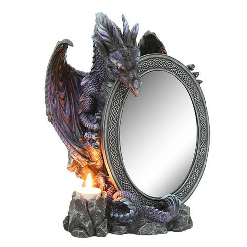 Purifying Dragon Ra Guardian Table Mirror Figurine With Tea Light Holder - Tealight Mirror