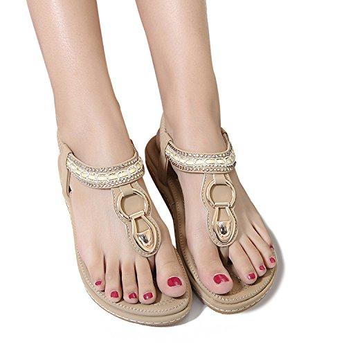 Sandali PU Decorate 1 Estate da da Bassi Bohemia Sandali Perline Stile Elegante Beige Donna Zoerea Cuoio wf87Cqx6