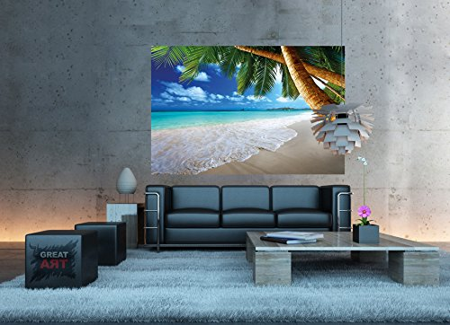 Sandy beach with palm trees and the sea photo wallpaper for Decor mural xxl