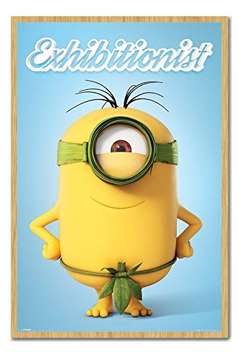 Minions The Exhibitionist Poster Cork Pin Memo Board Beech Framed - 96.5 x 66 cms (Approx 38 x 26 inches) -