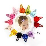 Munax 28 Pcs Snap Hair Clips Fabric Ribbon Hair Pins No Slip Grosgrain Ribbon Hair Barrettes For Baby Girls Teens Kids Hair Accessories (14 Pairs,Rose)