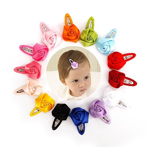 ir Clips Fabric Ribbon Hair Pins No Slip Grosgrain Ribbon Hair Barrettes For Baby Girls Teens Kids Hair Accessories (14 Pairs,Rose) ()