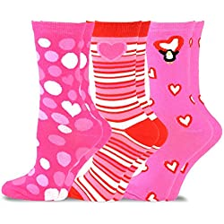 TeeHee Valentine's Day Love Women's Crew Socks 3-Pack (Pink Heart)