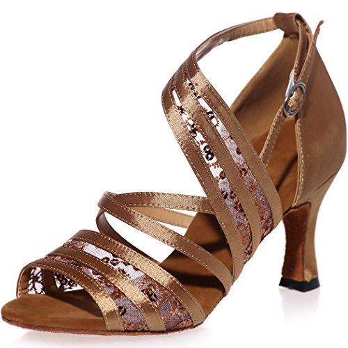 Sarahbridal Women High Heel Satin Sandals With Sequins Peep Toe Evening Prom Latin Dance Shoes For Girls Size SZXF8349 Brown Yo9P2862yf