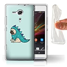 STUFF4 Gel TPU Phone Case / Cover for Sony Xperia SP/C5303 / Dinosaur Outfit Design / Cartoon Pug/Dog Collection