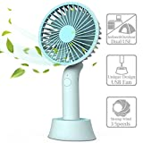 Mini Handheld Fan, Portable USB Fan with Dock, Dual Use Rechargeable Desktop Fan for Office, Outdoor, Camping, Beach etc, Personal Travel Accessories - (3 Speed, Blue) (Blue)