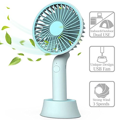 Mini Handheld Fan, Portable USB Fan with Dock, Dual Use Rechargeable Desktop Fan for Office, Outdoor, Camping, Beach etc, Personal Travel Accessories - (3 Speed, Blue) (Blue) by Opaceluuk