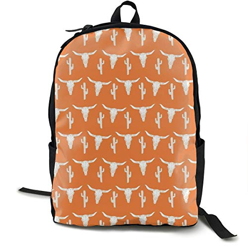 (O-X_X-O Laptop Outdoor Backpack Travel Hiking&Camping Rucksack Pack Casual Large College School Daypack Shoulder Book Bags Back Classic Fashion Longhorn Cattle Cow Texas Skull Cactus Bag)