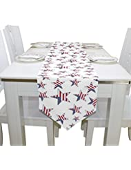 Naanle Double Sided July 4th Independence Day American Flag Stars Polyester  Table Runner 13 X 70 Inches Long White Table Top Decoration
