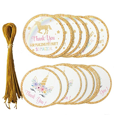 24pcs Thank You Tags, Unicorn Gift Tags with String Baby Shower Birthday Wedding Party Thank You for Celebrating with us Tags