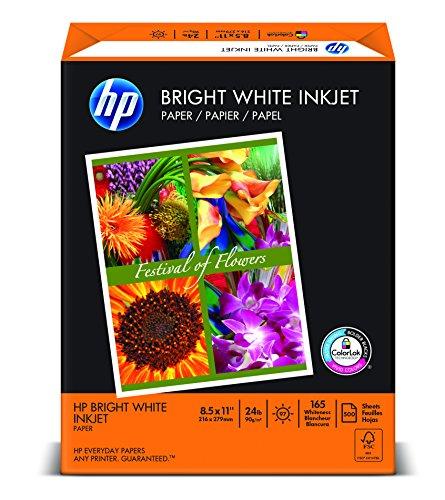 24 Color Inkjet (HP Bright White Inkjet Paper, Letter Size 8.5 x 11-Inch, 500 Sheets/Ream)