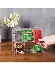MyGift 6-Slot Premium Clear Acrylic Stackable Tea Bag Organizer Rack, Set of 2